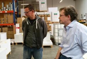 Peter Boerboom und Matthias Steinmeier beim Andruck von DAS GEDICHT 23 in Deiningen.