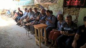 Flash poetry at the Souq with Maher Alrubaei, Serdar Çelik and Tobias Burghardt. Foto: Babylon Festival