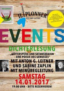 """Dichterlesung """"Götterspeise & Satansbraten"""" – eine Poesie des Genusses, Mit Anton G. Leitner und Sabine Zaplin – mit Menübegleitung"""