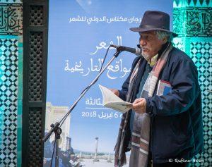 Lesung von Juan Manuel Roca in der Madrasa von Meknès. Foto: Rufino Haag